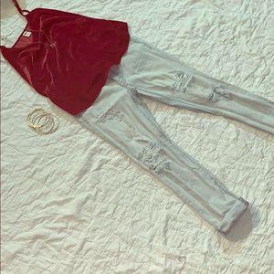 Light Wash Distressed Boyfriend Jeans